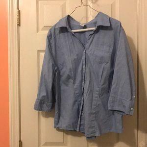 Old Navy 3/4 sleeve button up light blue shirt